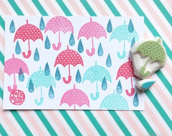 umbrella and rain drop rubber stamps | weather stamp | diy birthday baby shower crafts | planner | hand carved by talktothesun | set of 2