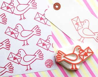 bird rubber stamp | love letter & dove | woodland animal card making | diy snail mail | wedding gift wrapping | hand carved by talktothesun