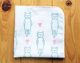 cat lovers handkerchief | kids animal hankie | cotton baby nose wipe | hand stamped face wipe | japanese hand towel | birthday gift idea