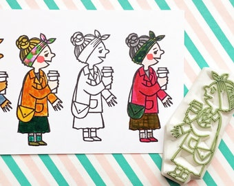 girl rubber stamp | with coffee cup | diy birthday gift | card making | fashionista | street fashion no1 | hand carved by talktothesun