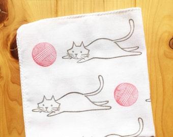 cat handkerchief   japanese hand towel   children hand wipe   kids cotton nose wipe   reusable baby face wipe   eco friendly cat lover gift