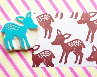 deer rubber stamp | fawn stamp | woodland animal | diy baby shower birthday | fabric stamping | card making | hand carved by talktothesun
