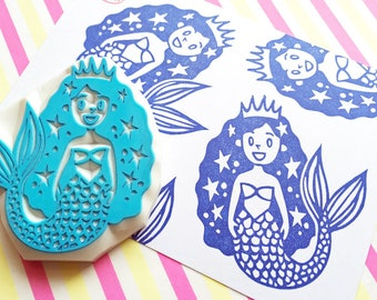 mermaid princess rubber stamp | diy fairytale birthday card making | fabric stamping | gift for girls | hand carved by talktothesun