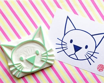 cat rubber stamp   animal stamp   hand carved stamp by talktothesun   stamps for scrapbooking, block printing   cat lover gift