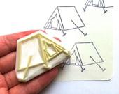 camping tent stamp | woodland hand carved stamp | summer crafts | diy art journal + scrapbooking