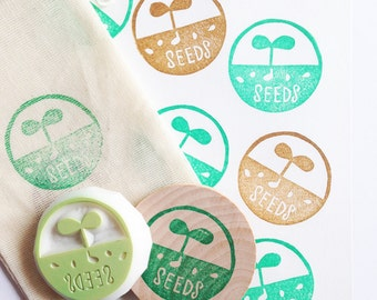 grow seeds stamp | gardening stamp | sprout stamp | hand carved rubber stamp for diy wedding seed envelope, card making, gift wrapping