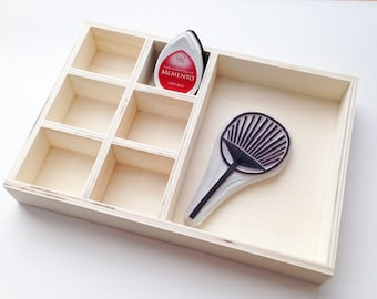 Rubber Stamp Storage Box | Ink Pad Tray | Wooden Desk Organizer | Gift Box  | Craft Room Organization | Office Stationery | Tray Only