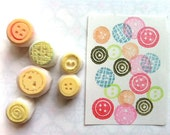 sewing button stamps | craft rubber stamp | hand carved stamps for card making, planner, gift wrapping, clay stamping, mother's day crafts