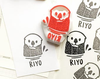 custom name rubber stamp | sea otter stamp | hand carved stamp by talktothesun | stamps for card making | personalized gift for kids