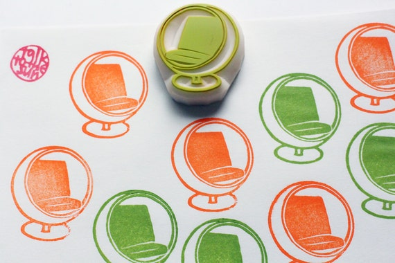 Ball Chair Rubber Stamp Vintage Furniture Hand Carved Stamp Etsy