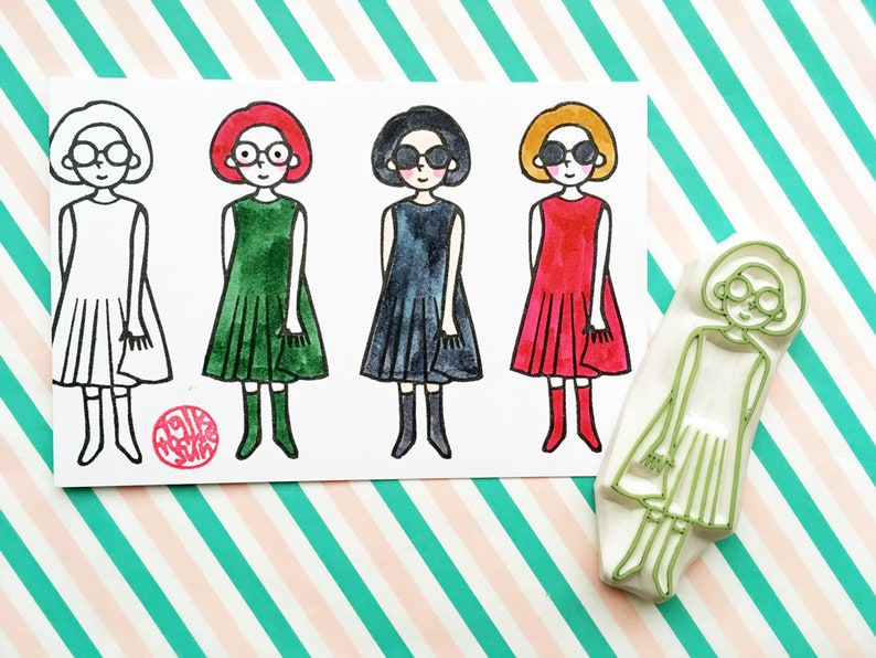 girl rubber stamp  fashion people stamp  fashion design hand image 0
