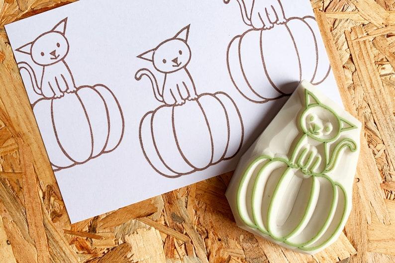 cat rubber stamp  pumpkin stamp  animal hand carved stamp image 0