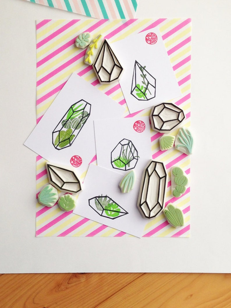 fabric printing succulent /& geometric terrarium stamps botanical plant rubber stamps hand carved stamps for diy card making