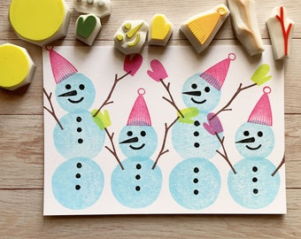 snowman rubber stamp | christmas stamps | hand carved stamps | stamps for card making winter crafts | gift for kids