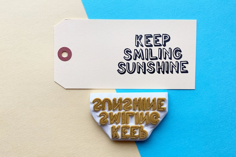 keep smiling sunshine rubber stamp  inspirational quote stamp image 0