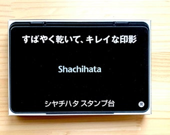 black shachihata ink pad   rubber stamp extra large ink pad   oil based fast drying pigment ink for uncoated paper, uncoated washi paper