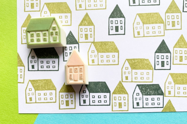 house rubber stamps  scandinavian house stamps  building image 0
