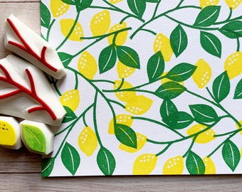 lemon rubber stamps   fruit & leaf stamps   botanical stamps   hand carved stamps by talktothesun   stamps for card making, summer crafts