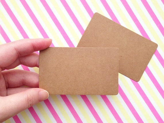Blank kraft paper card stock business card size diy gift reheart Image collections