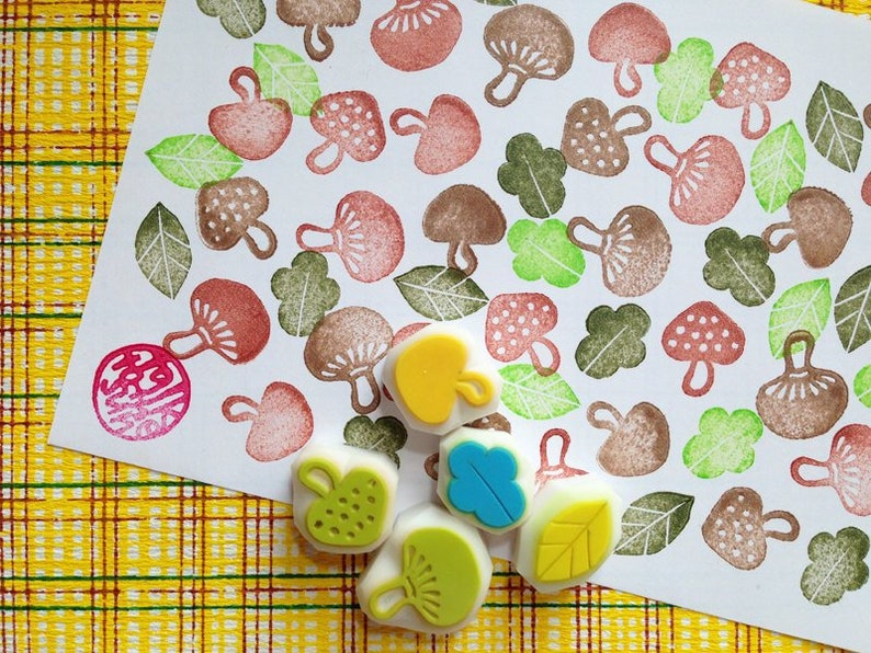 mushroom rubber stamps  fungi stamps  botanical plant stamps image 0