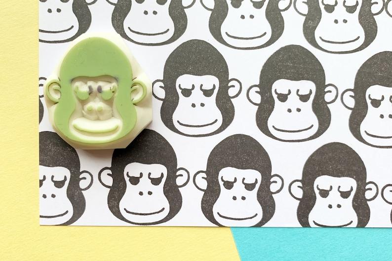 gorilla rubber stamp  jungle animal stamp  hand carved stamp image 0