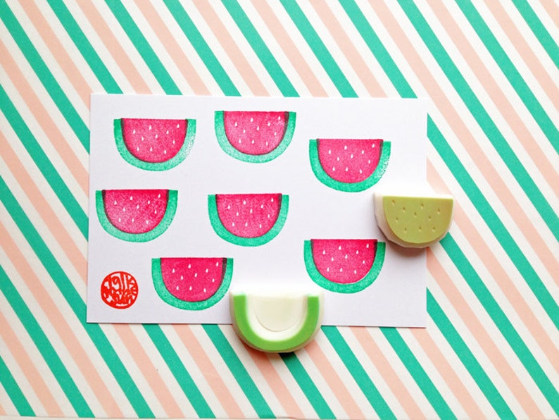 watermelon rubber stamp  tropical fruit stamp  hand carved image 0