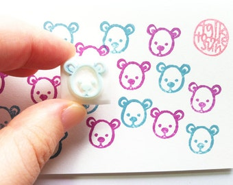 teddy bear rubber stamp | bear cub | woodland animal stamp | birthday baby shower card making | diy planner | hand carved by talktothesun
