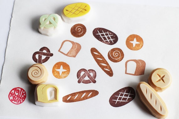 bakery rubber stamps | baguette, pretzel, bun, scroll, sour dough, white bread stamps | baking hand carved stamps for diy, card making