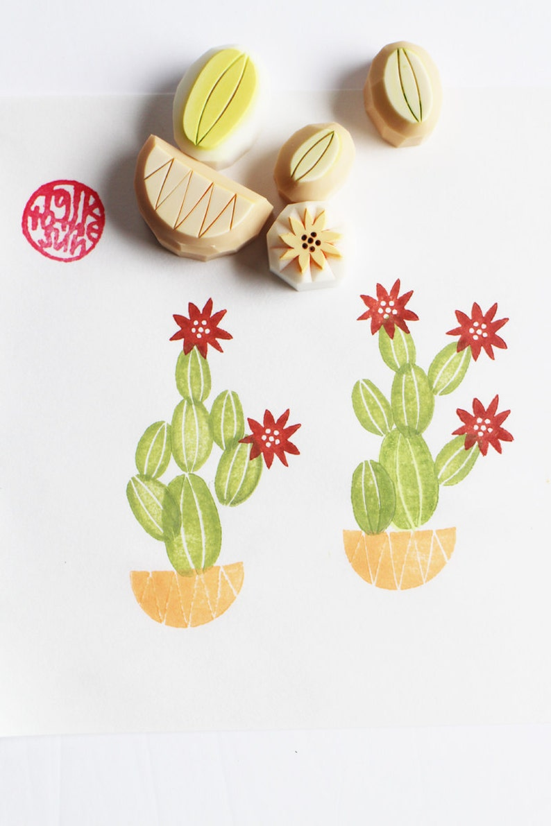cactus rubber stamps  cacti stamp  botanical plant stamp  image 0