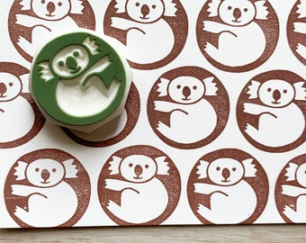 koala rubber stamp   australia animal stamp   hand carved stamp by talktothesun   stamp for card making, journaling   gift for kids