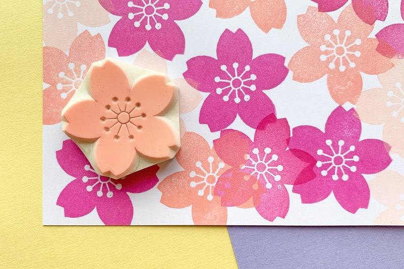 cherry blossom stamp  japanese flower stamp  sakura rubber image 0