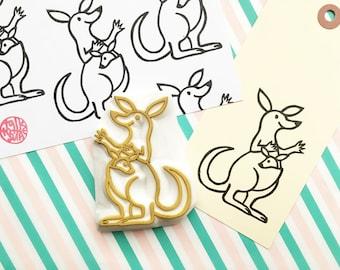kangaroo rubber stamp   mama & baby stamp   australian animal stamp   hand carved stamp   talktothesun   card making   animal lover gift