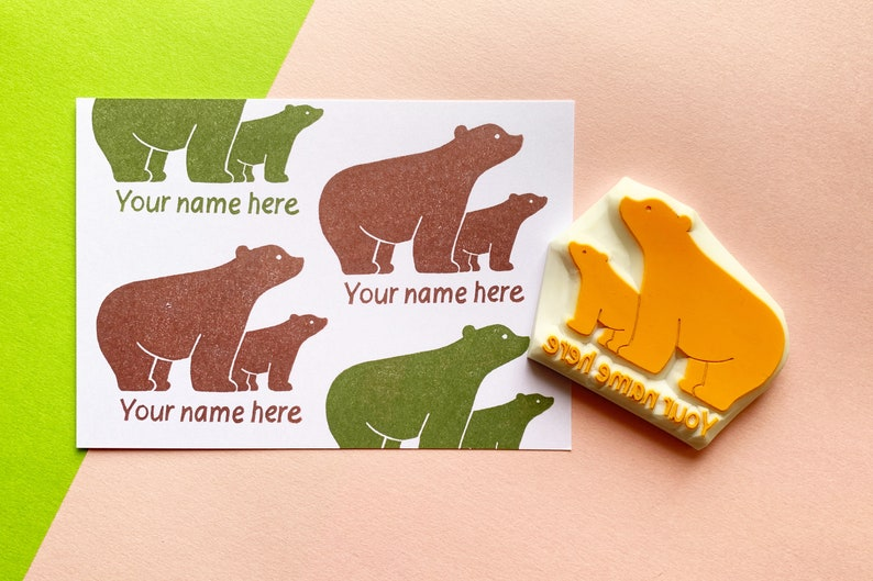 custom polar bear stamp with personalized name  pre-made logo image 0