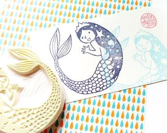 mermaid rubber stamp | princess stamp | girl stamp | fairytale stamp | hand carved stamp | talktothesun | mermaid birthday | block printing