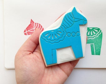 dala horse rubber stamp   woodland animal stamp   hand carved stamp by talktothesun   stamps for card making, scandinavian holiday crafts