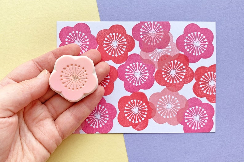 plum blossom stamp  japanese flower stamp  ume rubber stamp image 0
