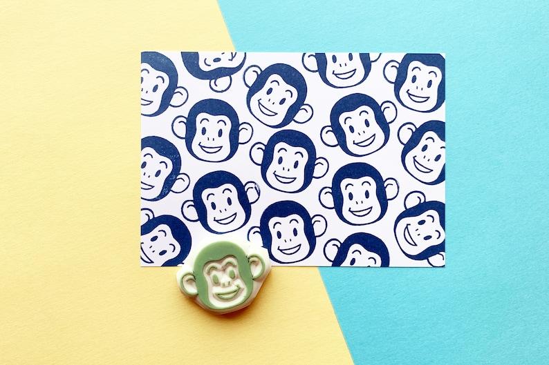 monkey rubber stamp  jungle animal stamp  hand carved stamp image 0