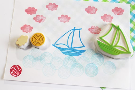 hawaii rubber stamp palm tree boat island wave hand carved stamps tropical summer crafts card making