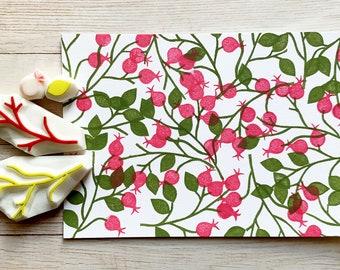 rose hip rubber stamps   fruit & leaf stamps   botanical stamps   hand carved stamps by talktothesun   stamps for card making, autumn crafts