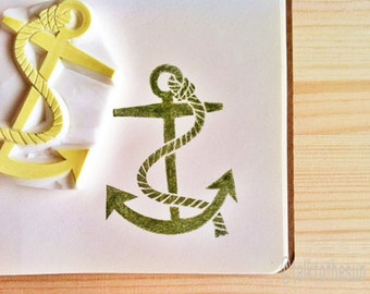 anchor rubber stamp   nautical stamp   sailing stamp   hand carved stamp by talktothesun   stamps for block printing, summer crafts