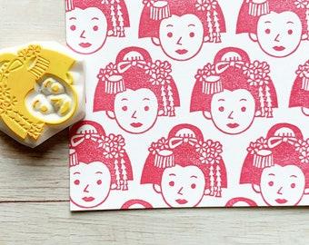 maiko rubber stamp | japanese stamp | hand carved stamp | stamp for card making junk journal diy crafts
