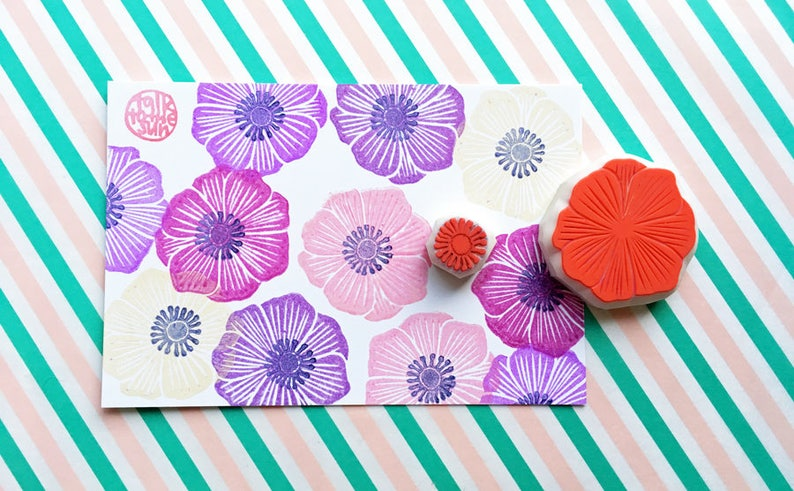 anemone flower stamps  wildflower rubber stamp  botanical image 0