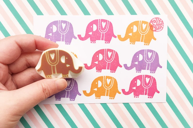 elephant rubber stamp  woodland animal stamp  japanese hand image 0