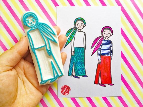 timbre en caoutchouc fille | à mode + personnes timbre sculpté à | la main | timbre de fashionista | bricolage + journalisation art 32c03e