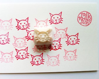 cat rubber stamp | animal stamp | diy birthday baby shower scrapbooking | cat lover gift | handmade stationery | hand carved by talktothesun
