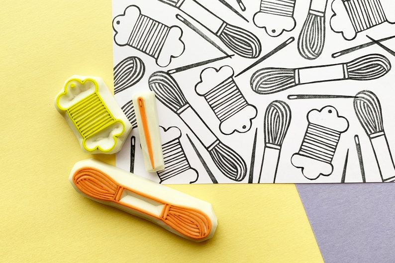 embroidery rubber stamps  sewing needle stamp  embroidery image 0
