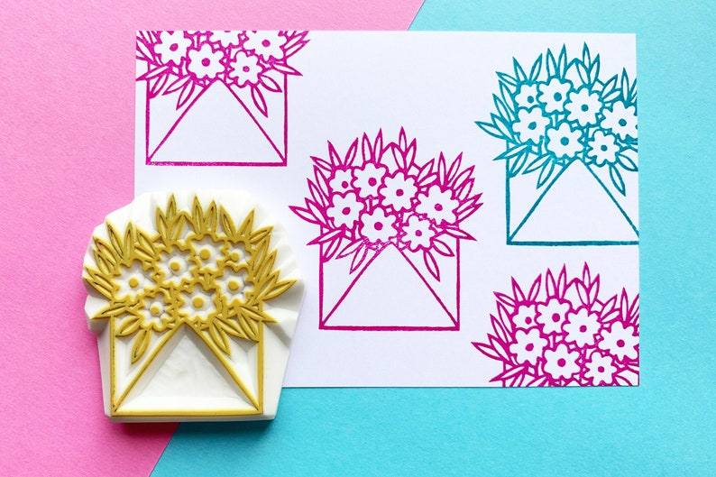 Snail mail stamp  happy mail stamp  envelope flower stamp  image 0