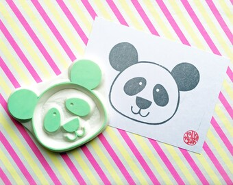 panda rubber stamp   woodland animal stamp   hand carved stamp by talktothesun   stamps for card making, block printing, diy birthday