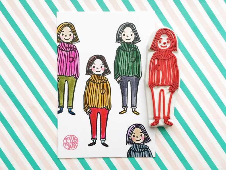 girl rubber stamp  fashionista stamp  fashion people hand image 0