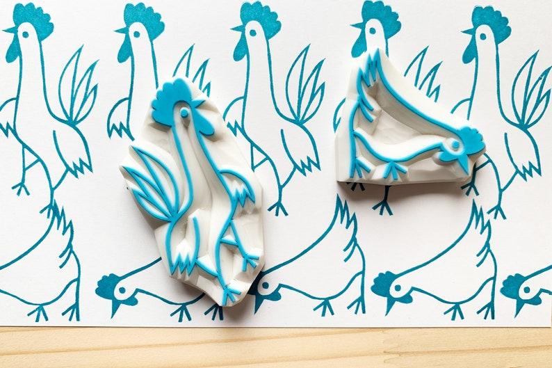 chicken rubber stamp  hen stamp  rooster stamp  farm animal image 0